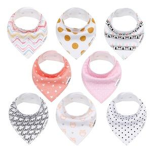 Baby Bandana Drool Bibs for Girls 8 pack
